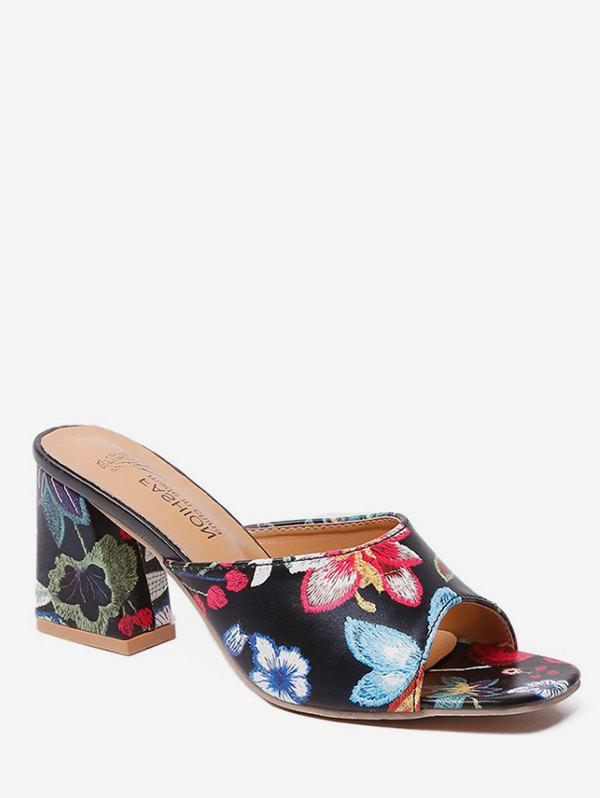 Unique Embroidery Flower Mid Heel Slides