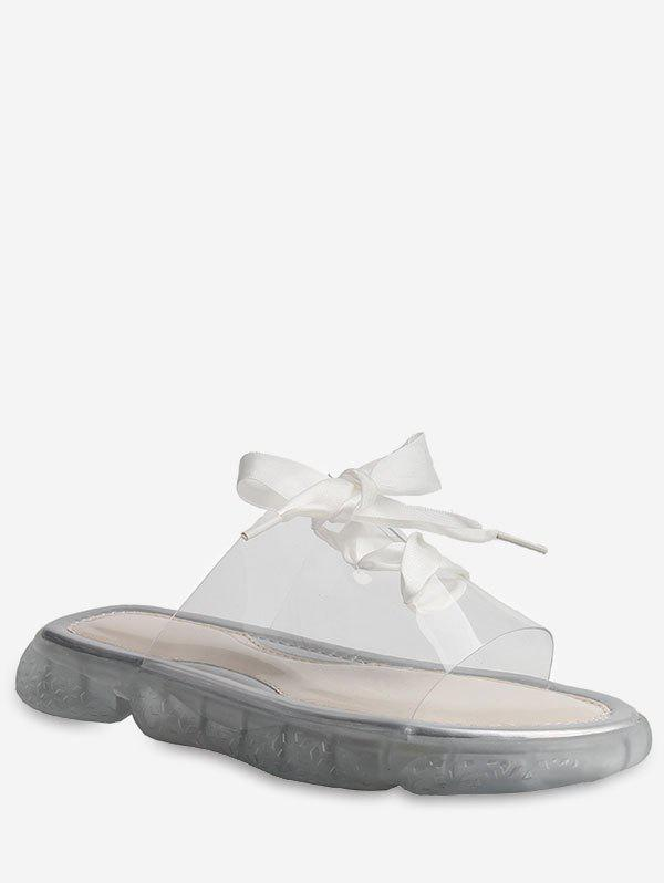 Chic Lace Up Transparent Casual Slippers