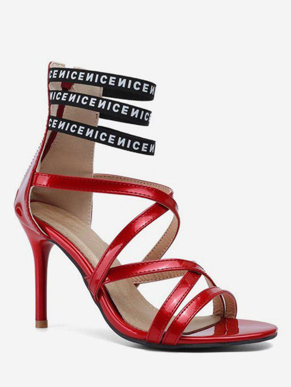 Trendy Caged Sexy Letter High Heel Sandals