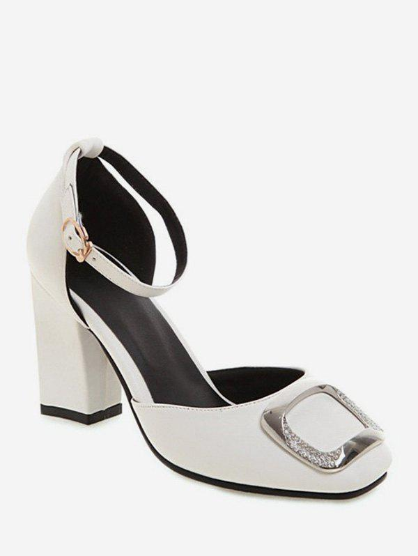 Chic Chunky Heel Simple Style Rhinestone Decorated Sandals