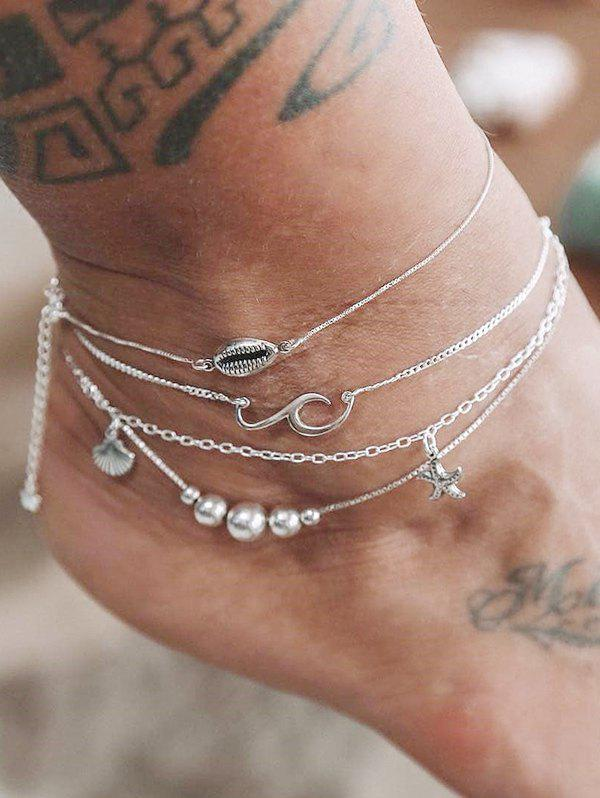 4PCS Shell Starfish Beads Anklets, Silver