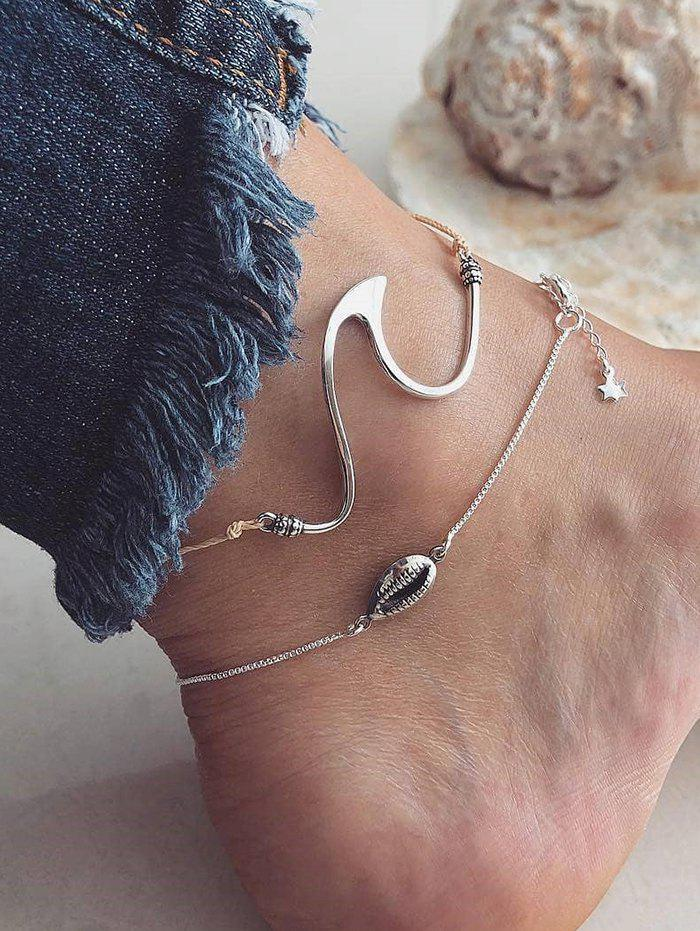 Trendy 2PCS Shell Geometric Anklets
