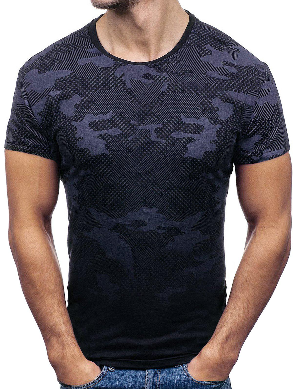 Latest Short Sleeves Camouflage Print T-shirt