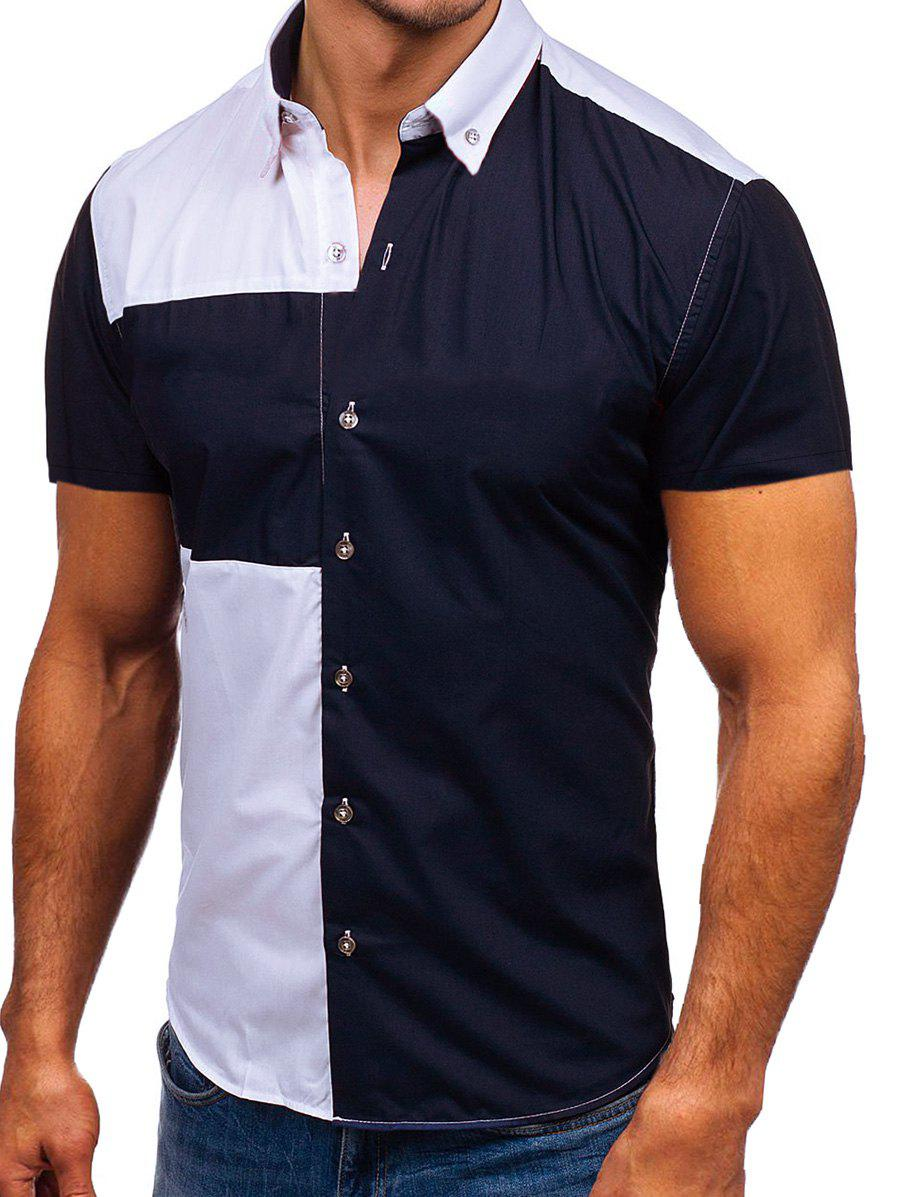 Outfit Two Tone Panel Casual Shirt