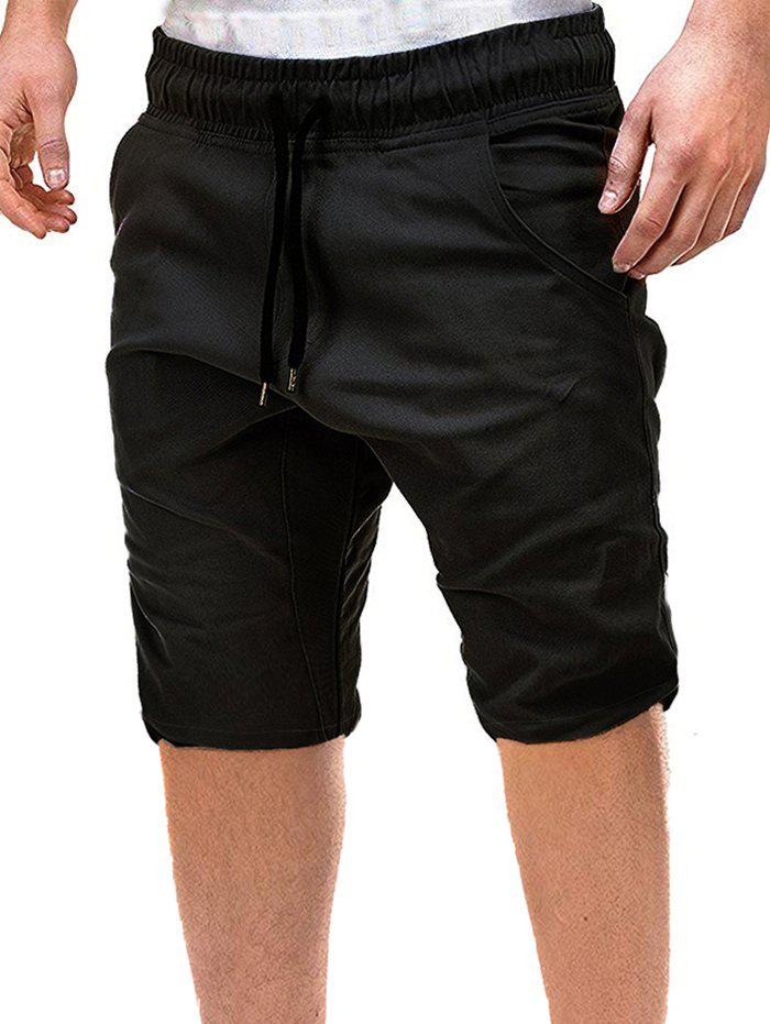 Outfits Solid Color Decoration Drawstring Shorts