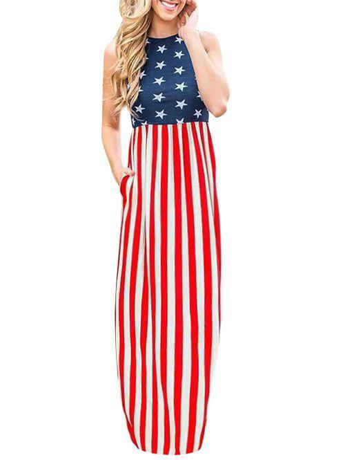 Online American Flag Long Casual Tank Dress