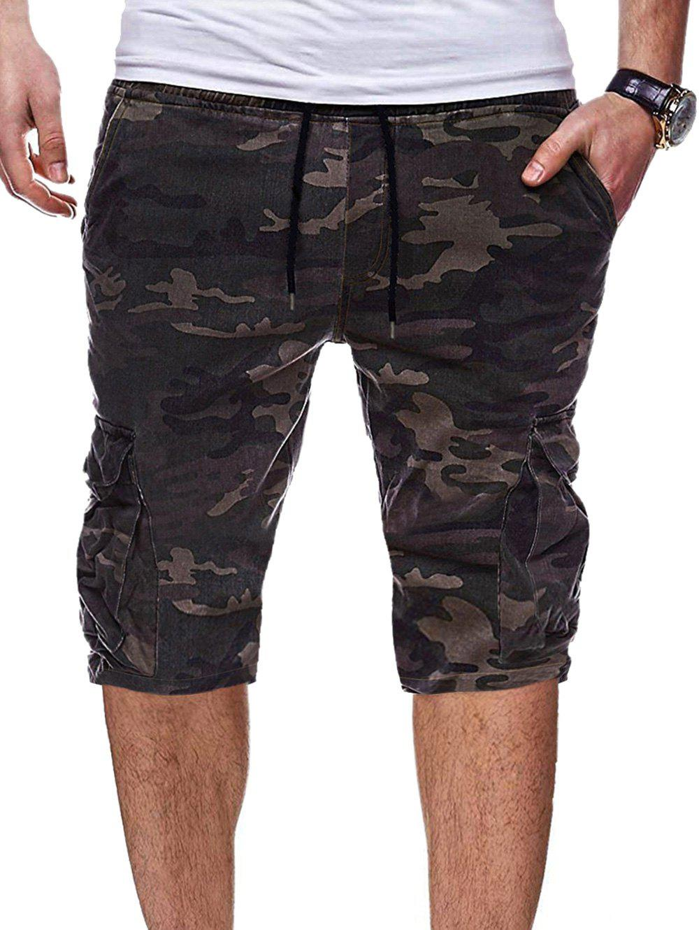 Cheap Camouflage Print Pocket Design Shorts