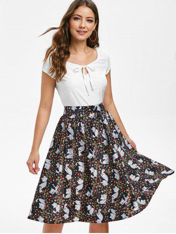 Keyhole T-shirt and Cat Print Skirt Set