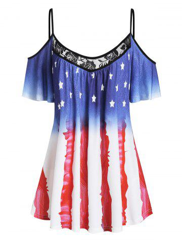 American Flag Lace Panel Open Shoulder Tee