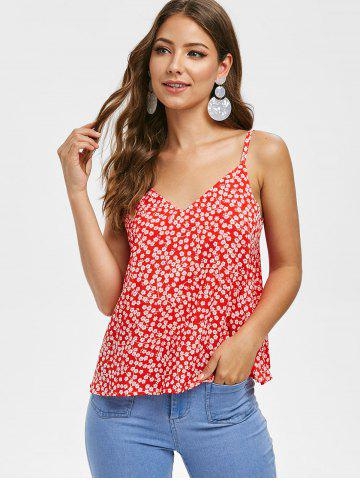 Floral Print Casual Tie Straps Top