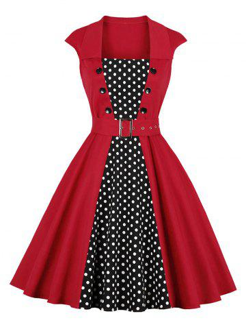 Polka Dot Panel Button Vintage Dress