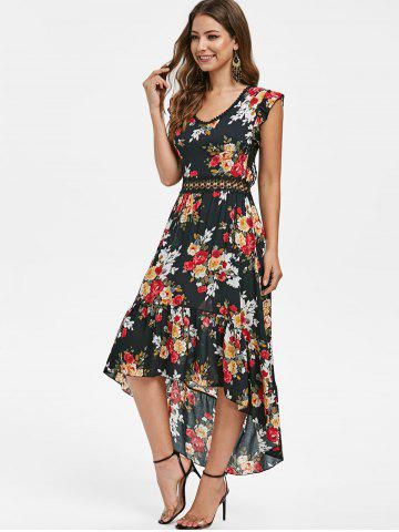 Floral Lace Panel Open Back Dress