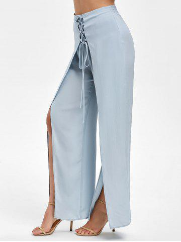 Lace Up High Slit Overlay Pants