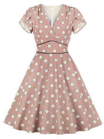 Petal Sleeve Polka Dot Dress