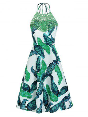 Leaf Print Open Back Zippered Dress