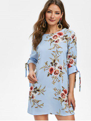 Knotted Sleeves Floral Print Shift Dress