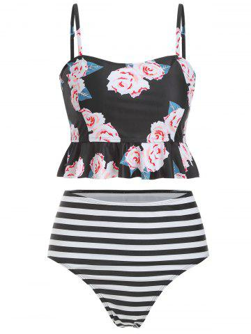 Floral Striped High Waisted Tankini Set