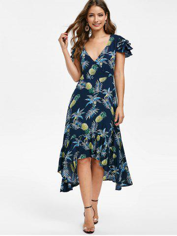 Pineapple Print Flounce High Low Midi Dress