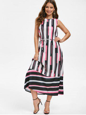 Round Neck Striped Belted Maxi Dress