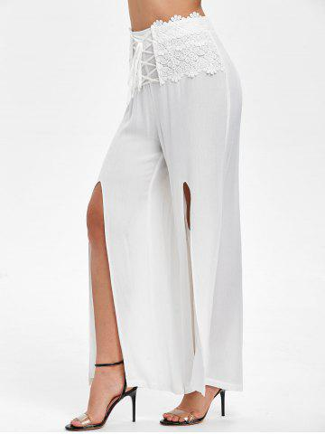 High Slit Lace Up Overlay Pants