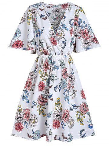Surplice Floral Print Mini Dress