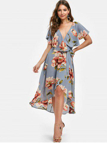 Plunge Flower Flounce Belted Casual Dress