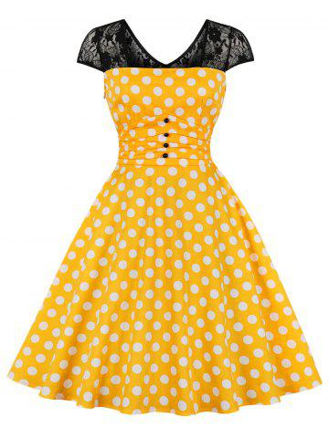 Lace Panel Polka Dot Vintage Dress