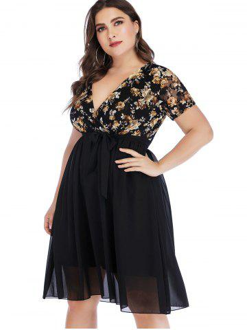 Plus Size Floral Lace Insert Surplice Dress