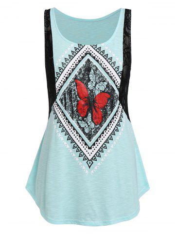 Plus Size Tunic Butterfly Printed Tank Top