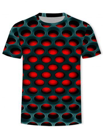 Burning Honeycomb Briquette Graphic Tee - RED - XL