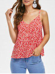 Floral Print Casual Tie Straps Top -