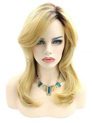 Medium Synthetic Body Wave Side Bang Wig -