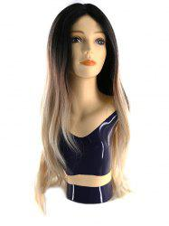 Synthetic Center Parting Body Wave Wig with Lace Front -