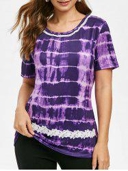 Round Neck Lace Panel Tie Dye Tee -