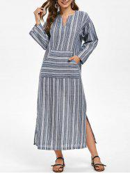 Striped Long Sleeve Front Pocket Midi Dress -
