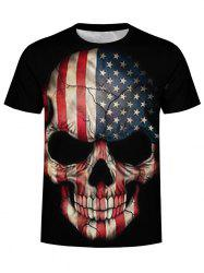 American Flag Skull Graphic T Shirt -