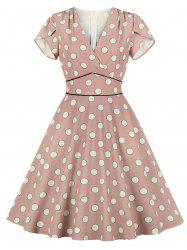 Petal Sleeve Polka Dot Dress -