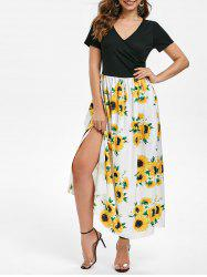 V Neck Sunflower Long Slit Dress -