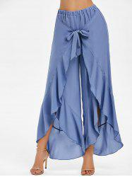 Ruffle High Waist Slit Wrap Pants -
