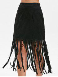 Fringed Zipper Back Skirt -