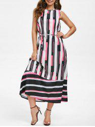 Round Neck Striped Belted Maxi Dress -
