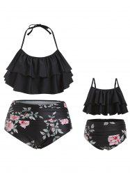 Plus Size Halter Ruffle Floral Family Swimsuit -