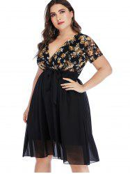Plus Size Floral Lace Insert Surplice Dress -