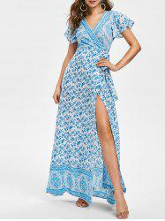 Floral Plunging Wrap Dress -