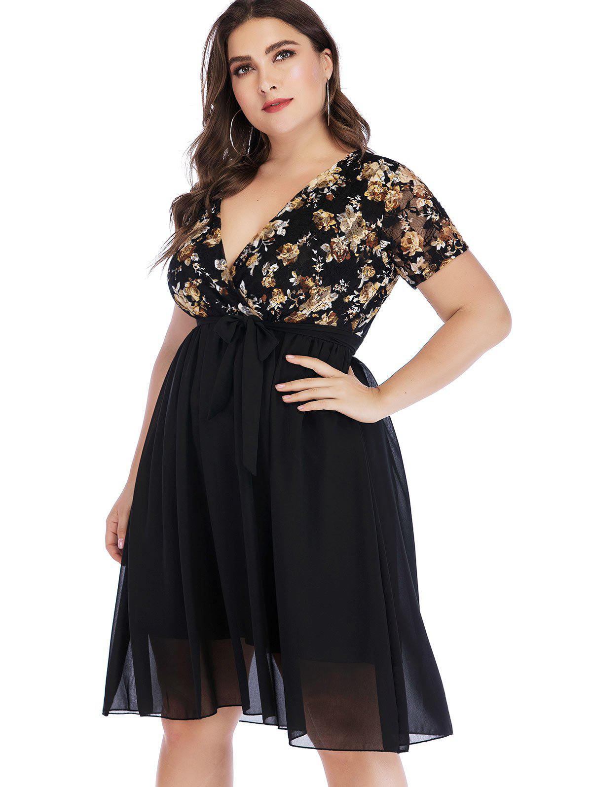 Sale Plus Size Floral Lace Insert Surplice Dress