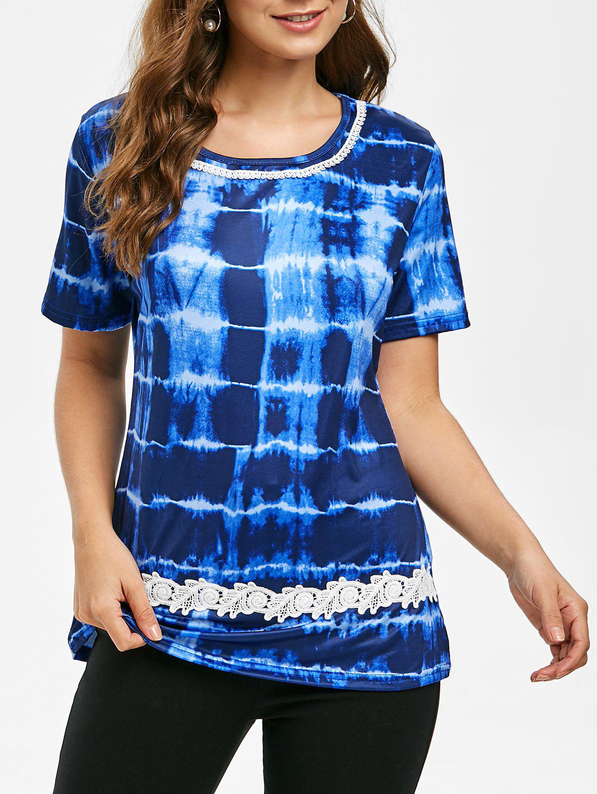 Affordable Round Neck Lace Panel Tie Dye Tee
