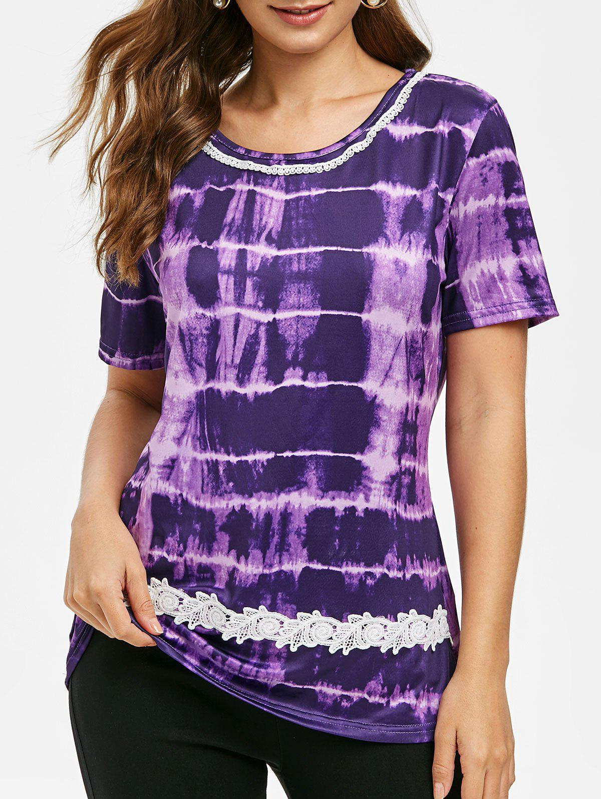 Outfits Round Neck Lace Panel Tie Dye Tee