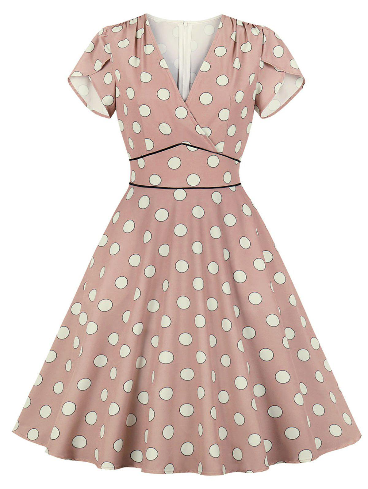 Trendy Petal Sleeve Polka Dot Dress