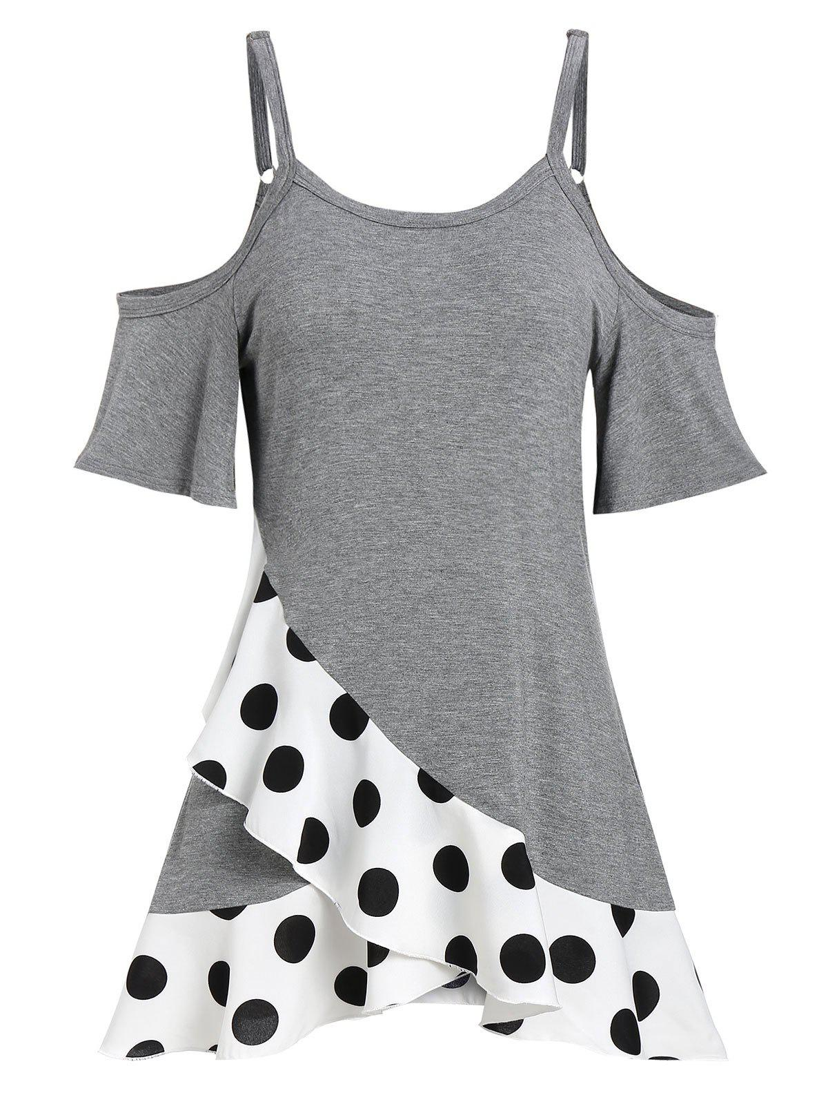 Outfit Polka Dot Open Shoulder A Line Tee