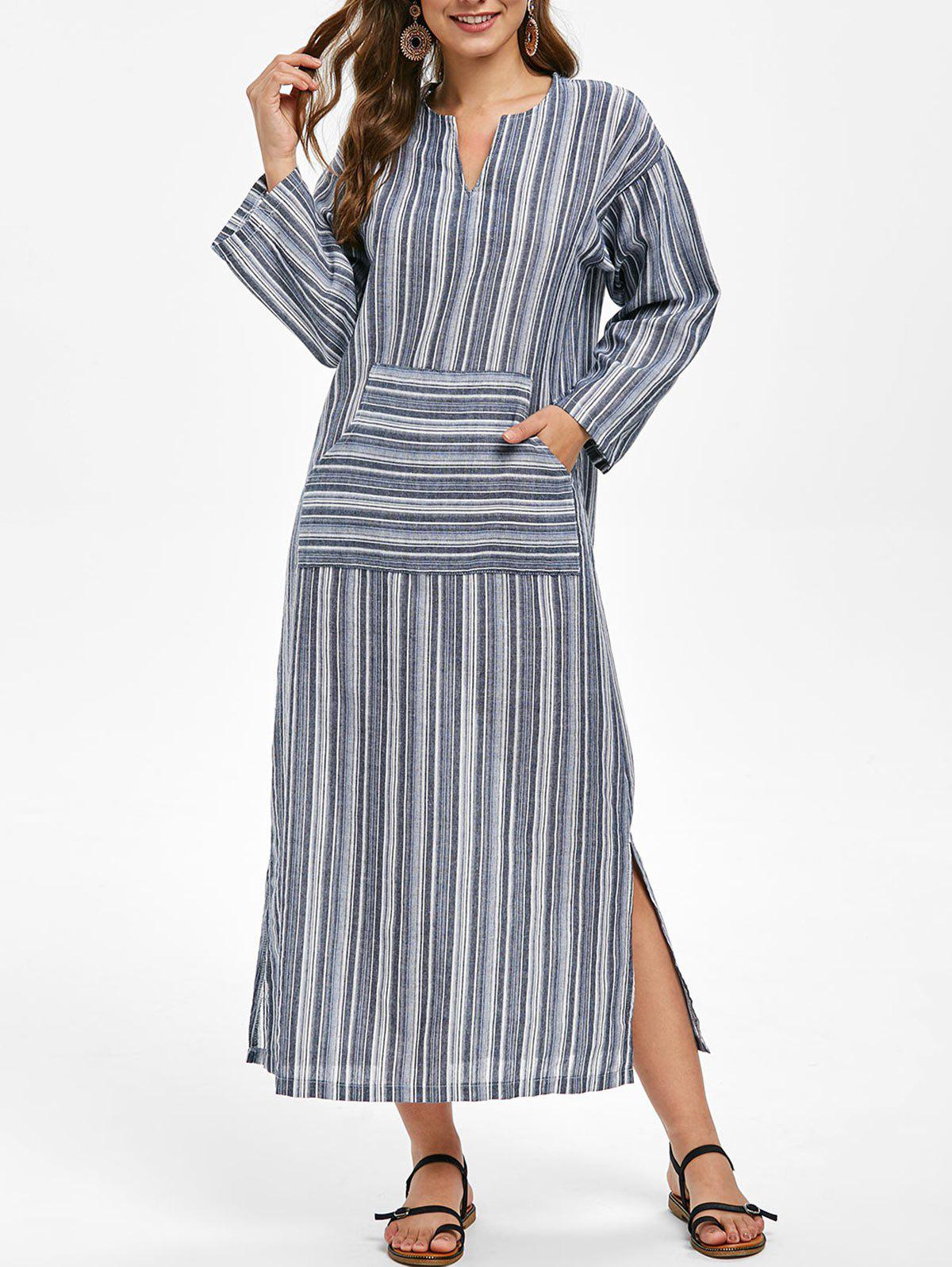 Best Striped Long Sleeve Front Pocket Midi Dress
